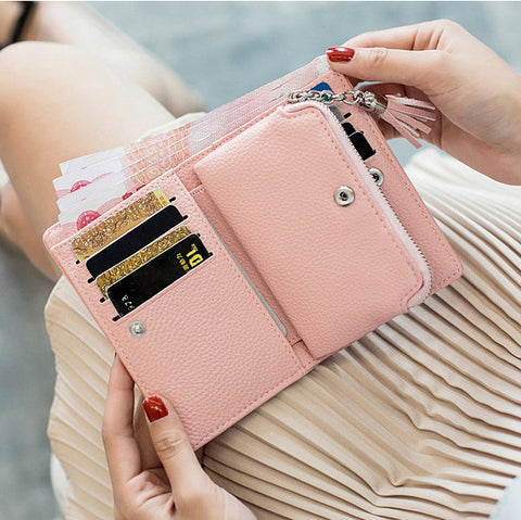 Stylish Candy Color Card Holder Short Wallet Purse For Women