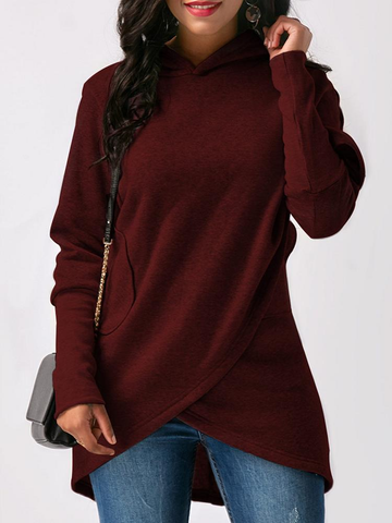 Casual Loose Solid Color Long Sleeve Women Asymmetrical Hoodies