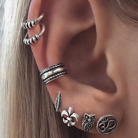 Punk Antique Silver Leaf Owl Anchor Earrings Set Fashion Gift for Women