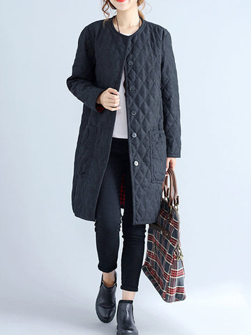 New Casual Plaid Thicken Splited Button Long Sleeve Women Coats