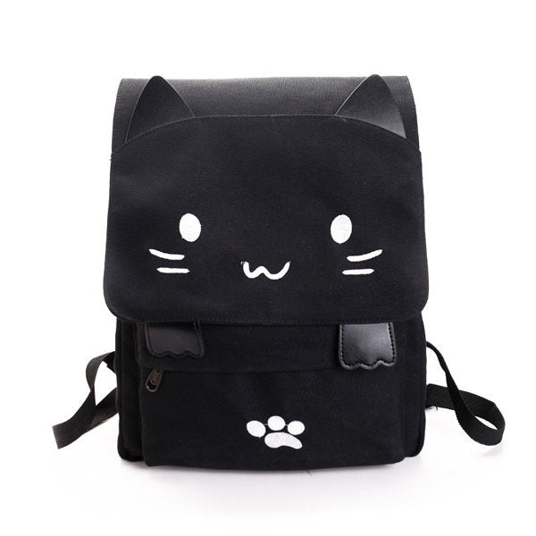Cheap Women Canvas Cute Black Cat Backpack Shoulder Bag Rucksack ... bb23eceffe