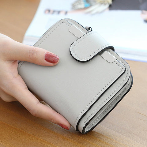 Women Candy Color Short Wallet PU Leather Purse