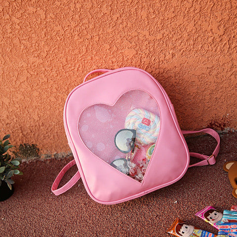 Girls Transparent Candy Color Backpack Woman Nylon Shoulder Backpack