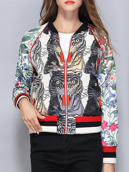 Vintage Floral Embroidery Tigers Pattern Patchwork Women Jackets