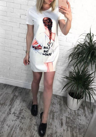 White Cartoon Print Round Neck Fashion Mini Dress