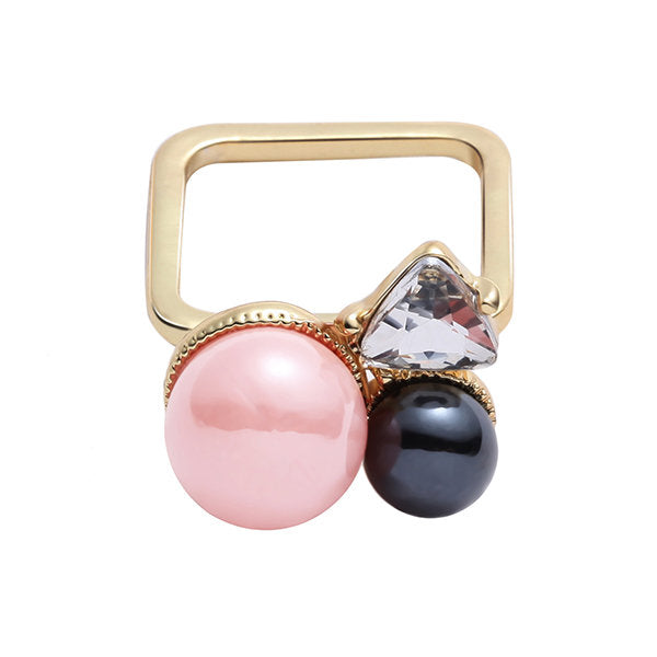 JASSY® Cute Pink Pearl Square Ring Fashion Jewelry for Women