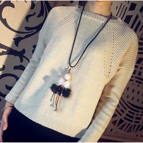 Alloy Velvet Doll Pendant Long Necklace