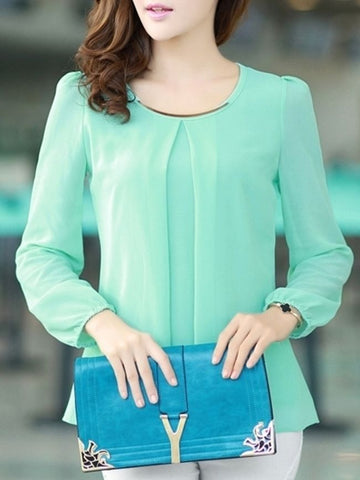 7 Color Round Neck Chiffon Plain Long-sleeve-t-shirt