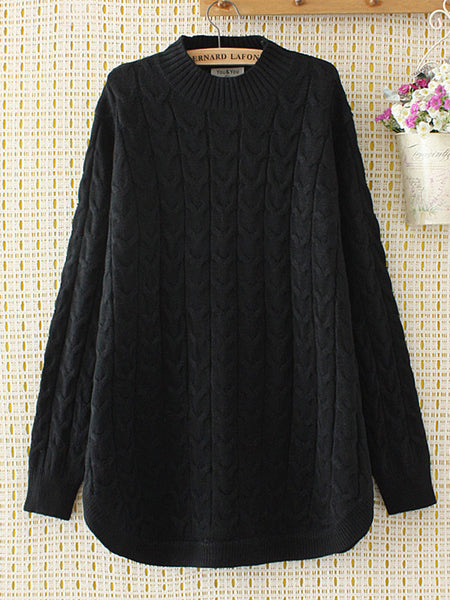 Casual Solid Long Sleeve O-Neck Knit Sweater For Women