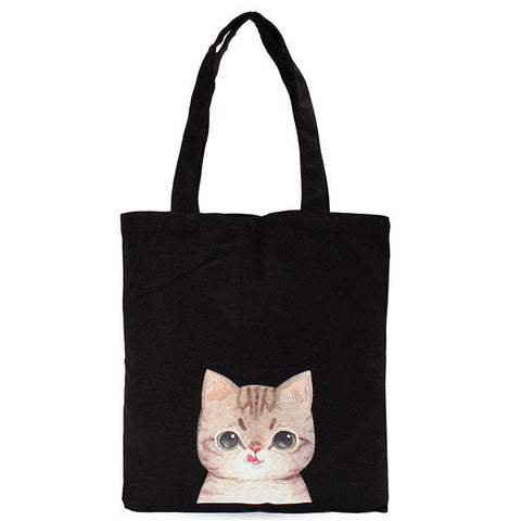 Canvas Cute Cat Shoulder Bag