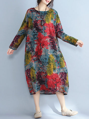 Casual Abstract Tree Print Loose Long Sleeve O-Neck Dress
