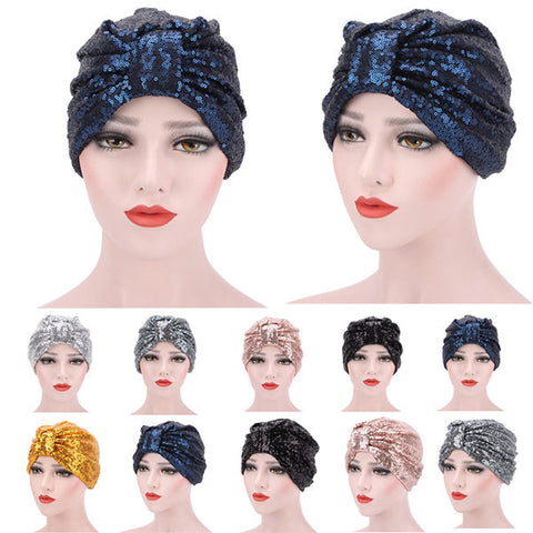 Colorful Bright Sequin Scarf Cap Breathable Street Shot Head Hat For Women