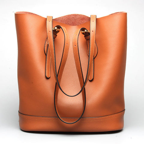 Women Genuine Leather Handbag High End Tote Bag Bucket Bag