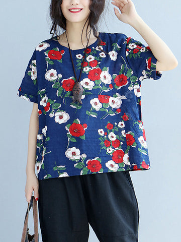Women Short Sleeve Floral Printed Vintage T-shirts
