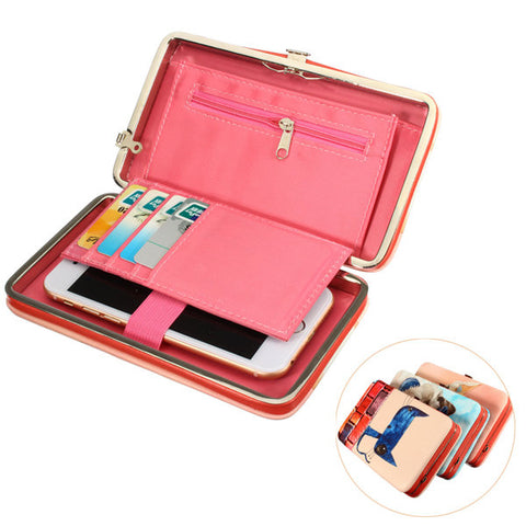 Women Cartoon Cute Sweet Casual Long Wallet Phone Cash Cards Coins Purse