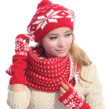Women Winter Snowflake Kintted Hat Scarves Gloves Set With Pompom Outdoor Warm Beanie Cap