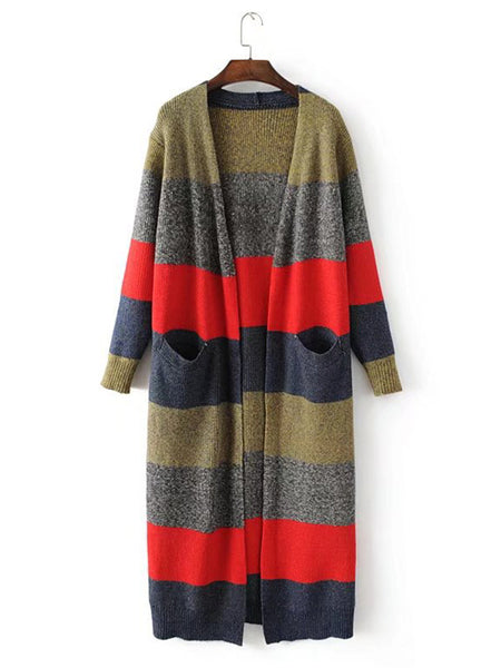 Casual Patchwork Striped Long Sleeve Women Sweatercoats