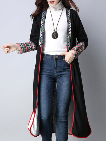 Casual Vintage Patchwork Women Slit Coats