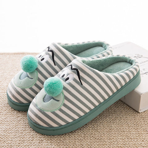 Cartoon Stripe Slip On Indoor Home Slippers