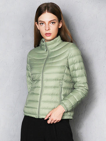 Brief Portable Thin Solid Color Women Down Light Jackets