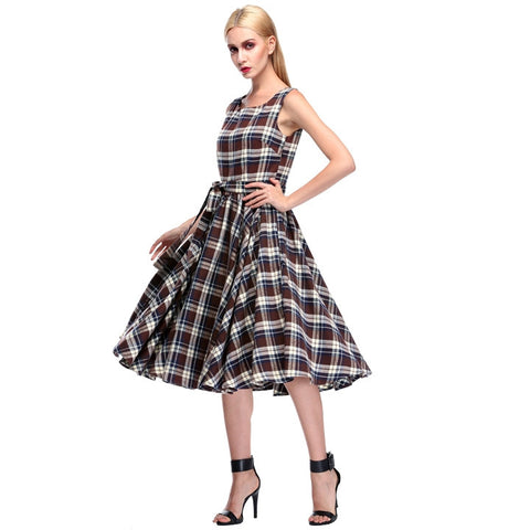1950s Stylish Lady Women's Retro Style Sexy Sleeveless Grid Pattern Slim Casual Prom Party Swing Dress With Belt