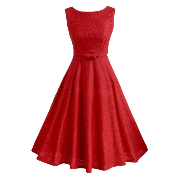 Red Sleeveless O-neck Lace Slim Prom Swing Party Dress