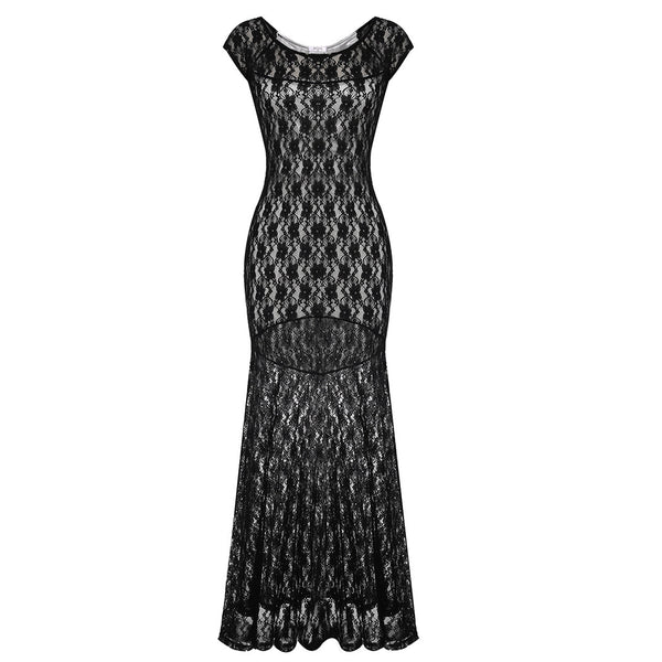 Black Cap Sleeve Lace Party Package Hip Maxi Dress