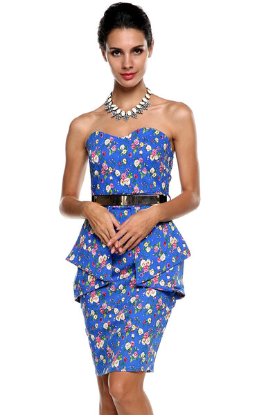 Blue Strapless High Waist Floral Bodycon Stretch Pencil Party Dress