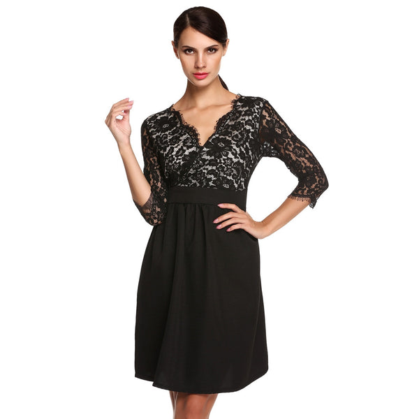 Black 3/4 Sleeve V-Neck Lace Patchwork Work Dress