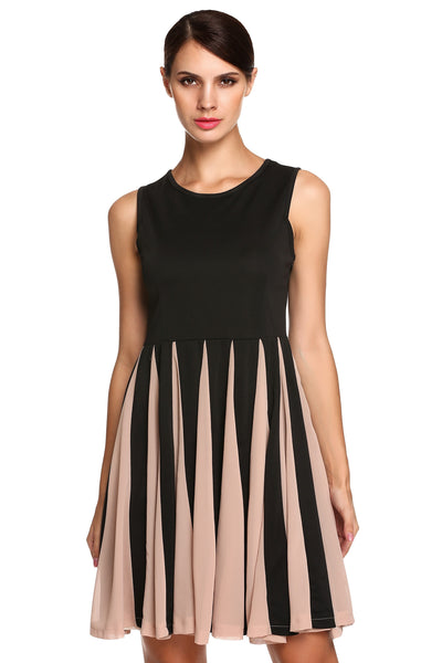 unbranded Black New Stylish Ladies Women Elegant Sleeveless Round Neck Solid Pleated Casual Dresses
