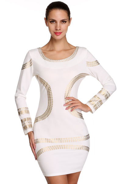 White Stylish Ladies Women Casual Long Sleeve Neck Geometric Print Sexy Bodycon Pencil Mini Going Out Dresses
