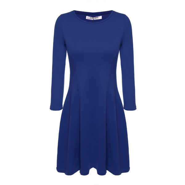 Round Neck 3/4 Sleeve Solid Color Casual Dresses