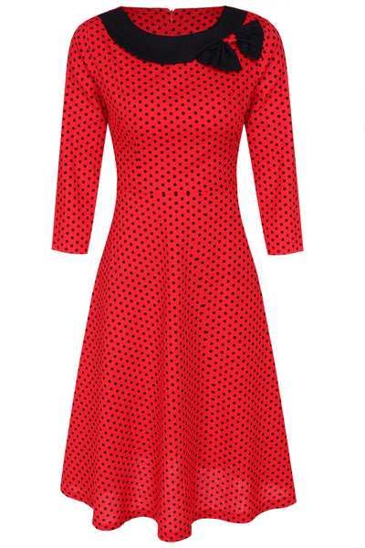 Red Women Retro O-Neck 3/4 Sleeve Polka Dot Slim Bowknot A-Line Casual Dresses