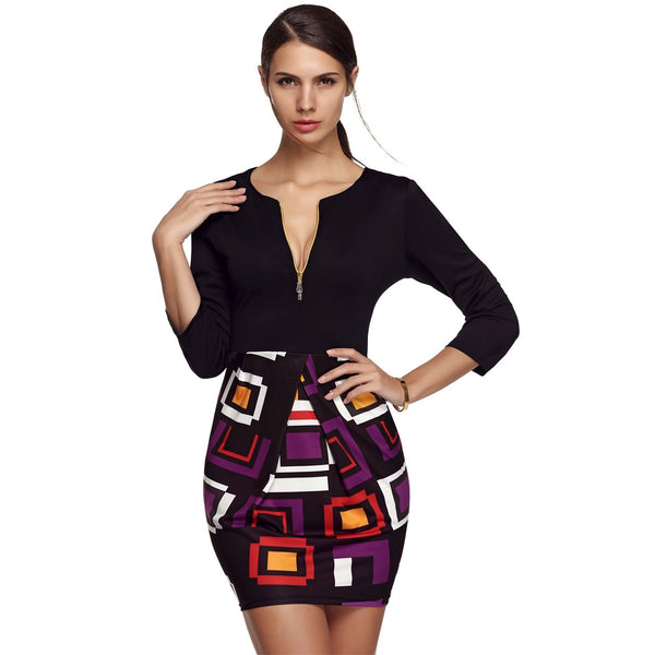 Black 3/4 Sleeve Geometric Print Patchwork Going Out Dress