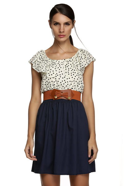 New Stylish Women Sleeveless Round Neck High Waist Dots with Belt Casual Dresses