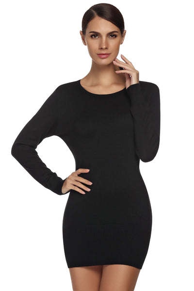 Black Fashion Ladies Women Long Sleeve O-neck Elastics Mini Sweater Going Out Dresses