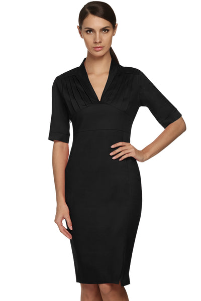 NavyBlue Sexy Ladies Women Elegant V-neck Medium Sleeve Slim Summer Work Dresses