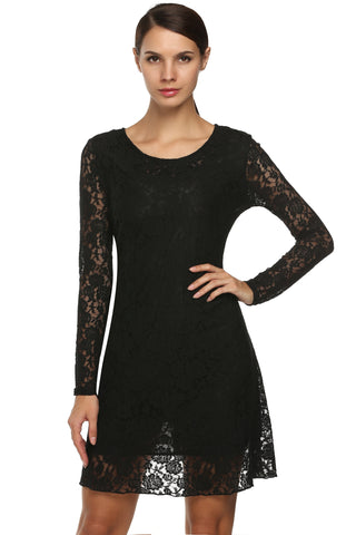 Fashion Women Sweet Floral Lace Round Neck Long Sleeve Casual Loose Going Out Wedding & Bridesmaid Dresses
