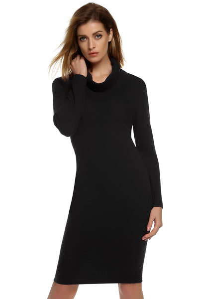Women Fashion Slim Cowl Neck Long Sleeve Knit Bodycon Casual Dresses