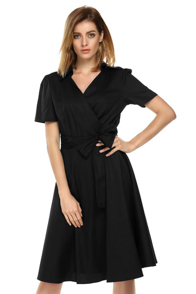 Women V-Neck Short Sleeve Solid Vintage Style Swing With Belt Party Casual Dresses