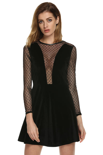 Black Women Sexy Mesh Patchwork Long Sleeve Party Ball Mini Going Out Dresses