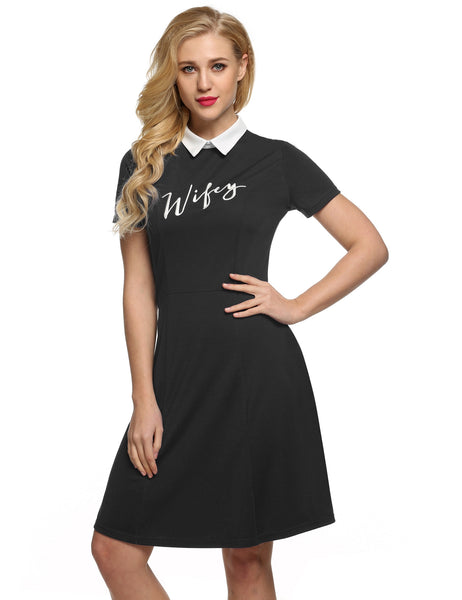 Black Retro Women Doll Collar Short Sleeve Embroidery A-Line Shift Casual Dresses