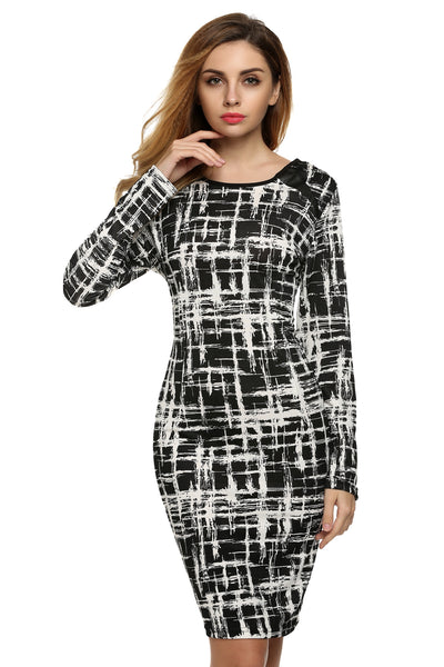 Black Printed Fitted Stretch Bodycon Dress