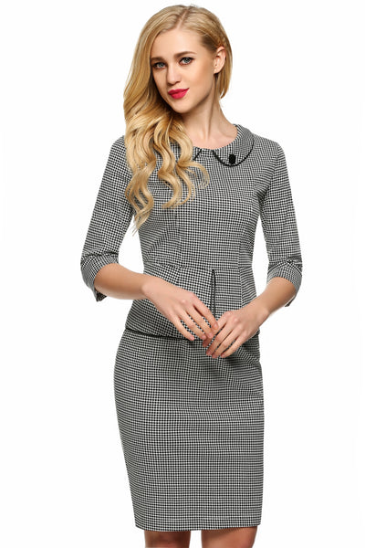 Grey Doll Collar Half Sleeve Grid Slim Falbala Dress