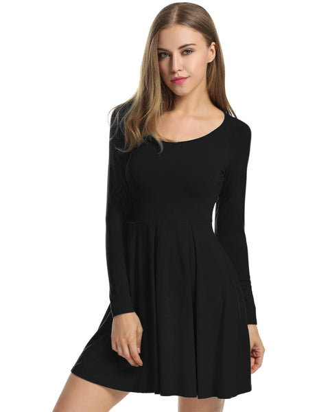 Long Sleeve High Waist Solid Stretch Pleated Casual Dress