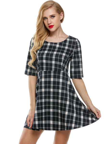 Black O-Neck Half Sleeve Plaid High Waist A-Line Going Out Dress