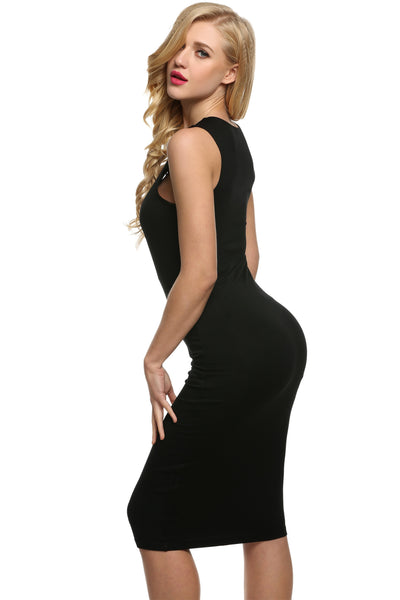 Women Sexy Sleevless Hollow Bodycon Stretch Party Going Out Dresses