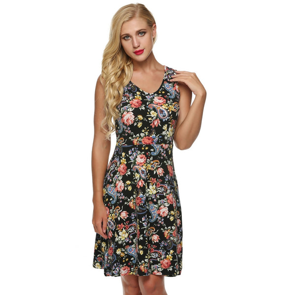 Fit And Floral Sleeveless O Neck Sundress Casual Dress