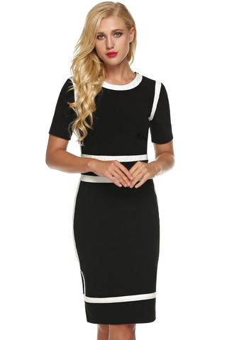Black Women Short Sleeve Slim Fit Business Party Bodycon Mini Going Out Work Dresses