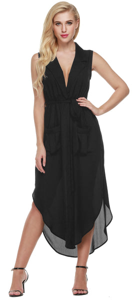 Women Sleeveless Slit Chiffon Maxi Shirt With Belt Casual Dresses